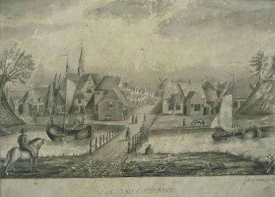 Aanzicht stad op de Bentheimerbrug 1874 van G.J. Soetekou