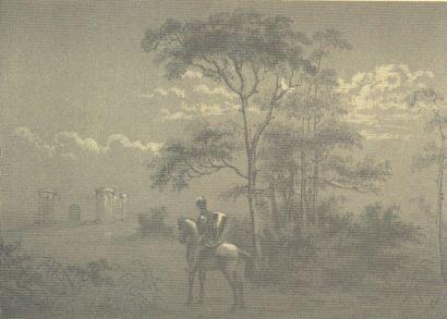 Een ridder met Kasteel Coevorden in de verte