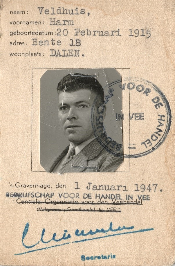 Identiteitsbewijs Harm Veldhuis_Bron_Historische vereniging Aold Daoln