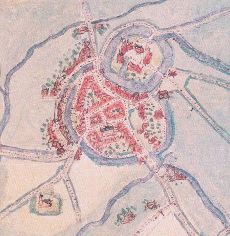 De eerste kaart van Coevorden door Jacob van Deventer 1550