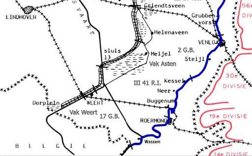 Kaart gevechtshandelingen bij Weert_Bron_Historische Vereniging Aold Daoln