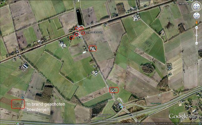 Luchtfoto met aangegeven lokaties