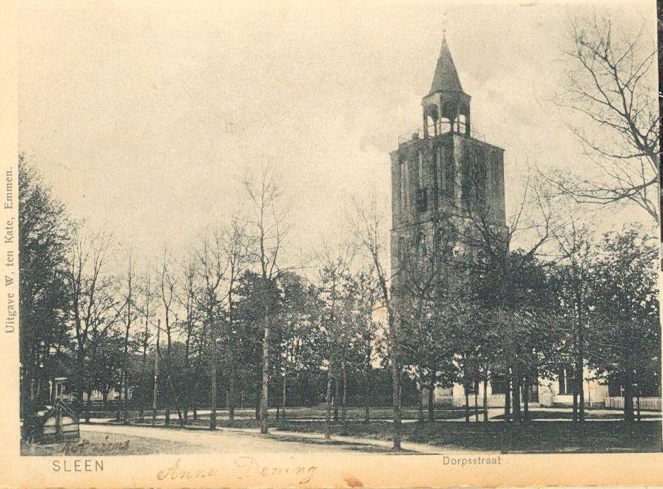 Oude torenspits van de NH-kerk Sleen voor 1867