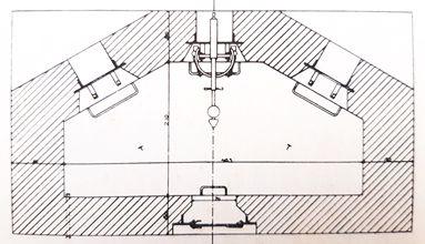 Verticale doorsnede van de kazemat voor zware mitrailleur.