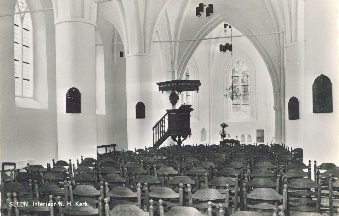 interieur Nederland Hervormde kerk Sleen